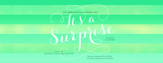 surprise, baby, baby shower, stripes, green, lime