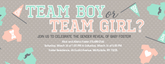 girl, boy, baby, baby shower, gender reveal, gender, reveal, heart, mustache, flags, flag, team, pink, blue, teal, twins, twin,