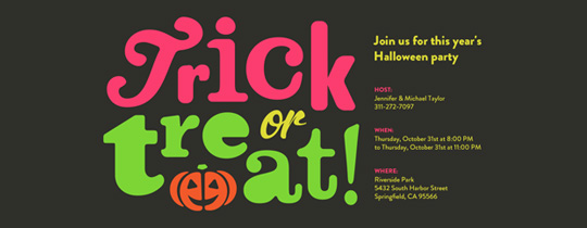 Trick or Treat Neon Invitation