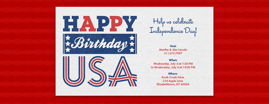 USA Bday Invitation