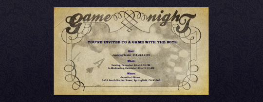 Vintage Game Night Invitation