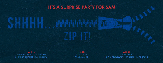 zipper, zip, birthday, surprise, surprise party,