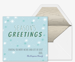 Seasons Greetings Snowflake Invitation