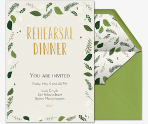 Green Rehearsal Dinner Invitation