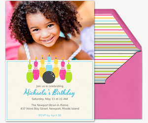 Bowling Birthday Candles Invitation