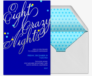 Eight Crazy Nights Confetti Invitation