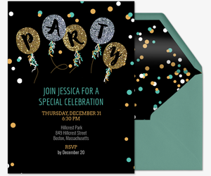 Free birthday party invitations for him evite glitter balloon party invite invitation stopboris Gallery