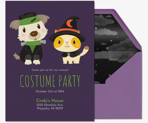 Pet Costume purple Invitation
