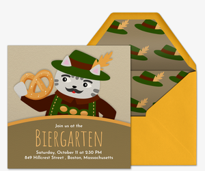 Cat Lederhosen Invitation