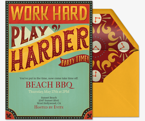 Work Hard Play Harder Invitation