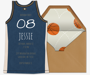 Basketball Jersey Blue Invitation