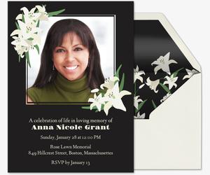 Celebrating A Life · Lily Frame Invitation  Celebration Of Life Templates
