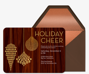 Golden Ornaments on Wood Invitation
