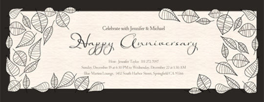 Online wedding anniversary invitation wrsvp tracker evite anniversary leaves invitation stopboris Image collections
