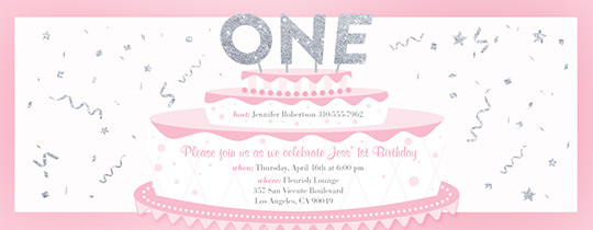 Baby Girls First Cake Invitation  Birthday Invite Words