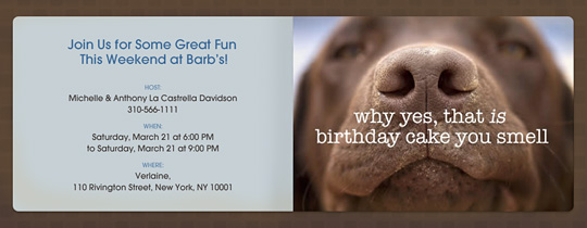 Birthday Cake Dog Invitation