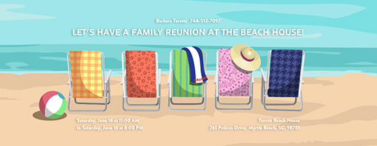Beach Chairs Reunion Invitation