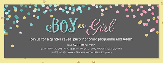 Boy or Girl Confetti Invitation