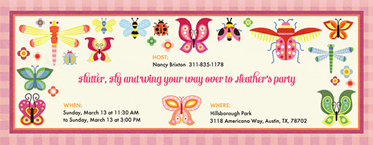 Free Ladybug Baby First Bugs And Gingham Girl Invitation