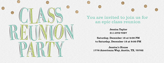 Class Reunion Party Invitation