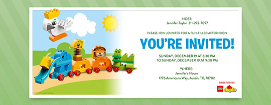 Animal Train Invitation
