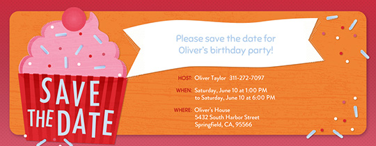 Save the date birthday free online invitations cupcake save the date invitation free pronofoot35fo Image collections