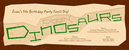 Diggin' Dinosaurs Invitation
