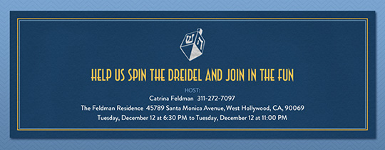 Dreidel Motif Invitation