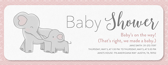 Elegant Elephant Baby Shower Invitation  Baby Shower Invite Samples