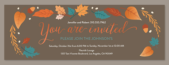 Fall Flora Copper Invitation