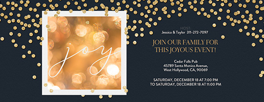 Gold Confetti Joy Black Invitation