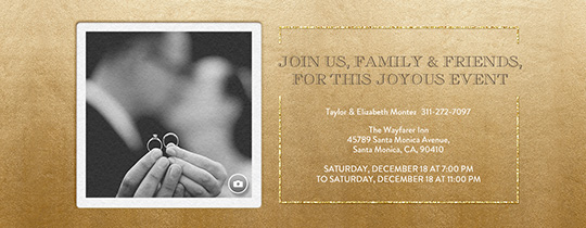 Festive Gold Metallic Invitation  Engagement Card Template