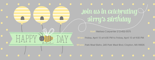 First Bee Day Invitation