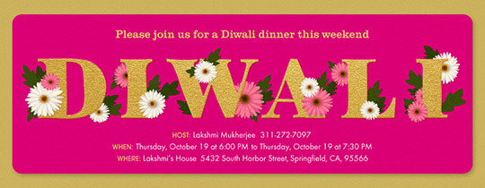 Floral Diwali Invitation