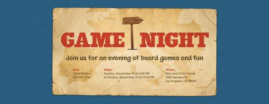Game Night Map Invitation