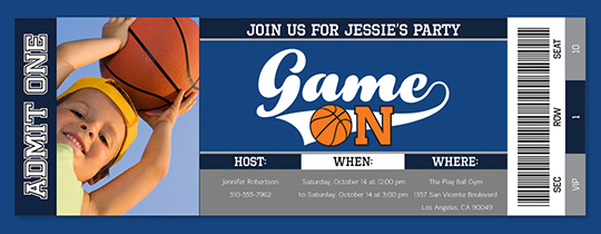 Game On Basketball Invitation