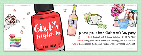 Girls' Night In Galentines Invitation