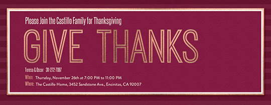 Give Thanks Merlot Invitation