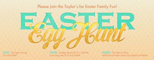 Golden Egg Hunt Invitation