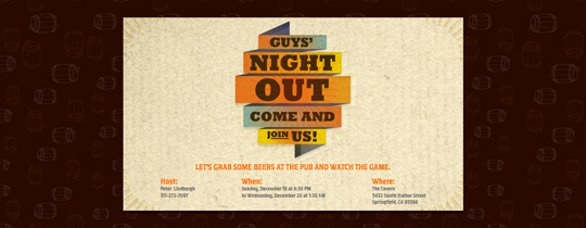Guys' Night Out Invitation