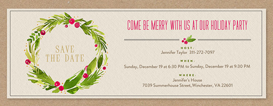 Holiday Wreath Save The Date Invitation