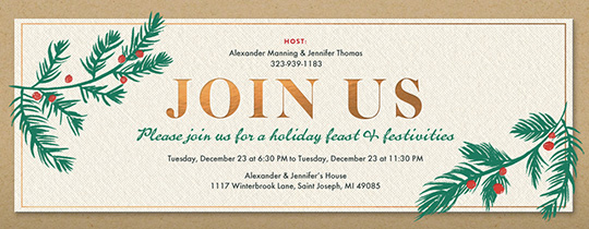 Office holiday party online invitations evite holly invite invitation stopboris Gallery
