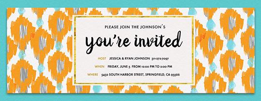 Online back to school party for children invitations evite ikat orange turq invitation stopboris Image collections