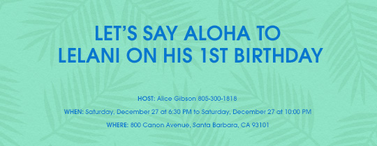Luau Birthday Green Invitation