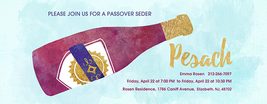 Pesach Wine Bottle Invitation