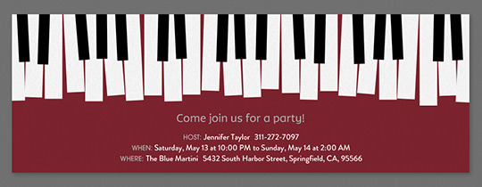 Piano Keys New Invitation