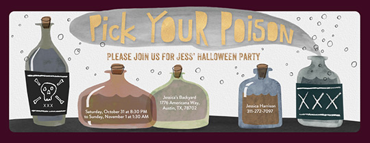 Pick Your Poison Bottles Invitation