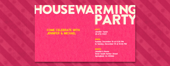 Pink Housewarming Invitation