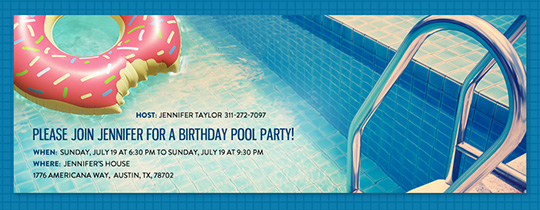 Pool party BBQs Beach 4th of July invitations – Birthday Pool Party Invitation