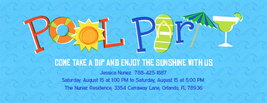 Pool Party free online invitations – Design Your Own Party Invitations Free Online